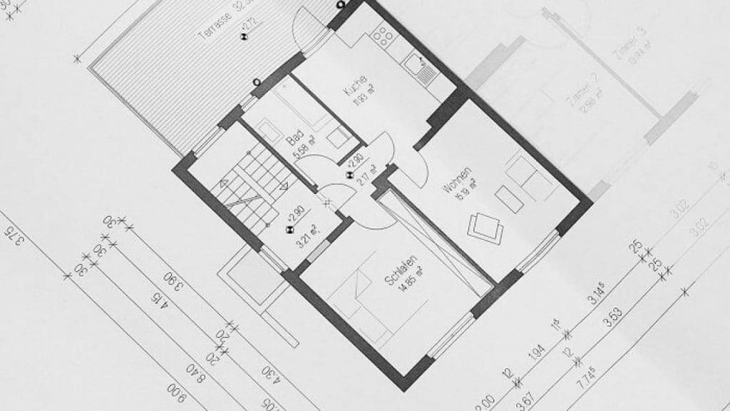 A typical technical drawing of a floor plan